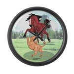 Mustang Horse & cougar Large Wall Clock
