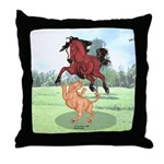 Mustang Horse & cougar Throw Pillow