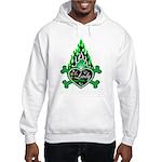 Green Flame Heart Hooded Sweatshirt