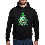 Green Flame Heart Hoodie (dark)