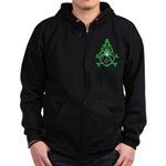 Green Flame Heart Zip Hoodie (dark)