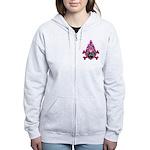 Pink Flame Heart Women's Zip Hoodie