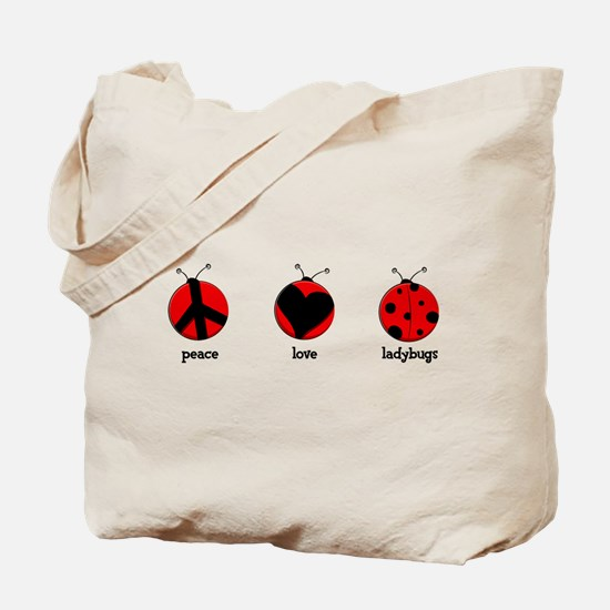 Peace, love, ladybugs Tote Bag