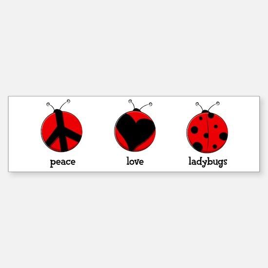 Peace, love, ladybugs Sticker (Bumper)