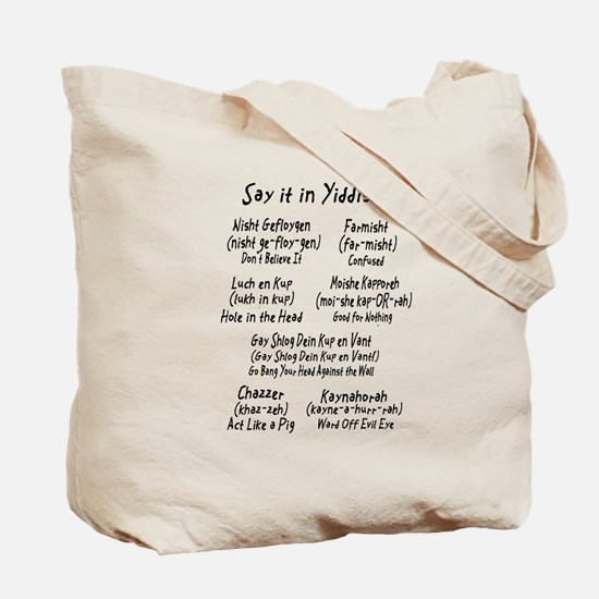 Say it in Yiddish Tote Bag