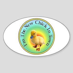 Funny Chick Oval Sticker