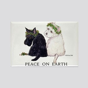 Scottish Terrier Westie Christmas Rectangle Magnet