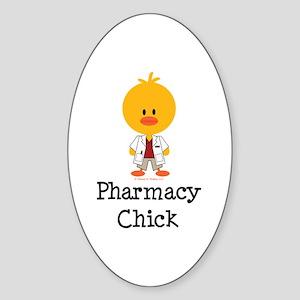 Pharmacy Chick Oval Sticker
