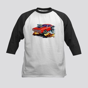 1971-72 Hemi Cuda Red Car Kids Baseball Jersey