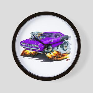 1971-72 Hemi Cuda Purple Car Wall Clock
