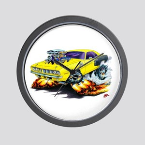 1971-72 Hemi Cuda Yellow Car Wall Clock