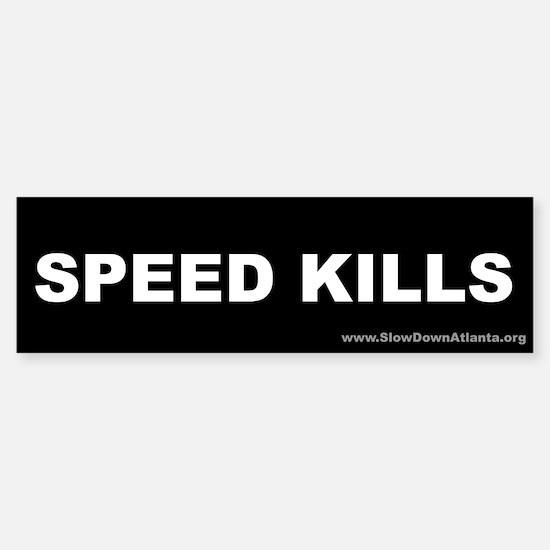 Speed Kills Bumper Sticker (white on black)