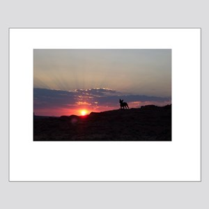 Boston Terrier at sunset Small Poster