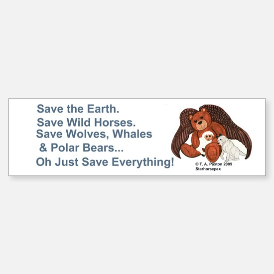"""Save"" Angel Bear Bumper Bumper Bumper Sticker"