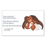 """Save"" Angel Bear Rectangle Sticker 10 pk)"