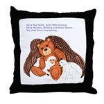 """Save"" Angel Bear Throw Pillow"