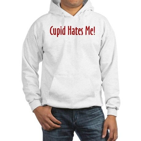 Cupid Hates Me in red Hooded Sweatshirt