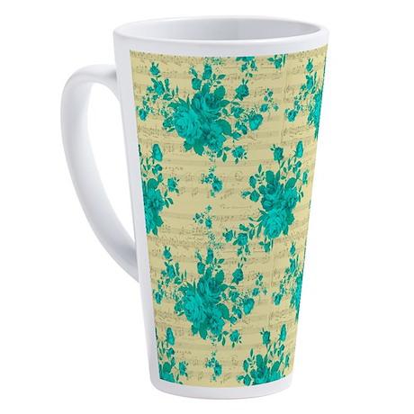 Romantic Teal Roses and Music 17 oz Latte Mug