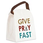 """Give Pray Fast Canvas Lunch Bag (12.5x8x5.5"""")"""