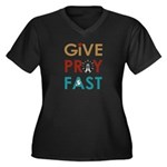 Give Pray Fast V-Neck Plus Size T-Shirt