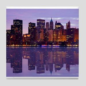 Manhattan Cityscape Reflectio Tile Coaster