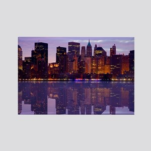 Manhattan Cityscape Reflectio Rectangle Magnet