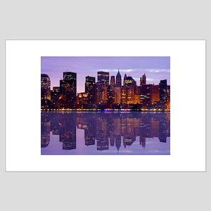 Manhattan Cityscape Reflectio Large Poster
