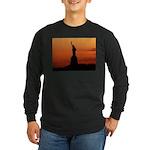 Statue of Liberty Silhouette Long Sleeve Dark T-Sh