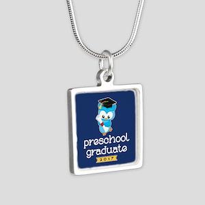 Preschool Grad 2017 Silver Square Necklace