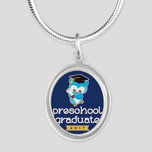 Preschool Grad 2017 Silver Oval Necklace