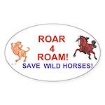 Bay Stallion & Lion Roar for ROAM Sticker (Oval 50