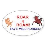 Bay Stallion & Lion Roar for ROAM Sticker (Oval 10
