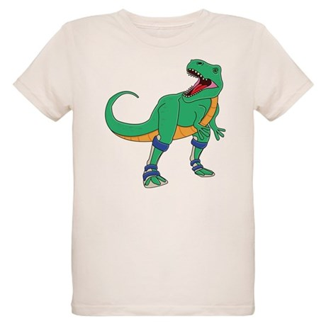 Dino with Leg Braces Organic Kids T-Shirt