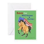 Save Wild Horses Roar 4 ROAM Greeting Cards (Pk of