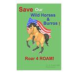 Save Wild Horses Roar 4 ROAM Postcards (Package of