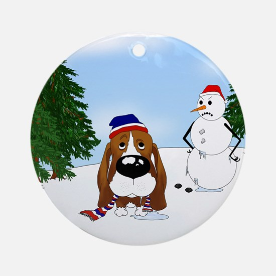 Basset Hound Holiday Ornament (Round)