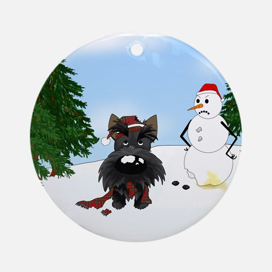 Scottish Terrier Holiday Ornament (Round)