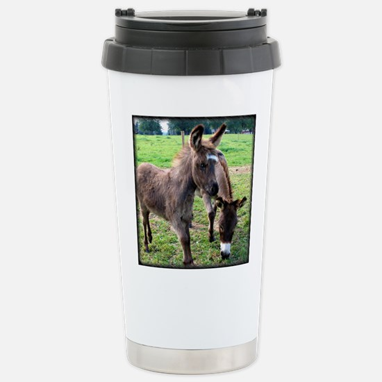 Baby Miniature Donkey & Mom Stainless Steel Tr