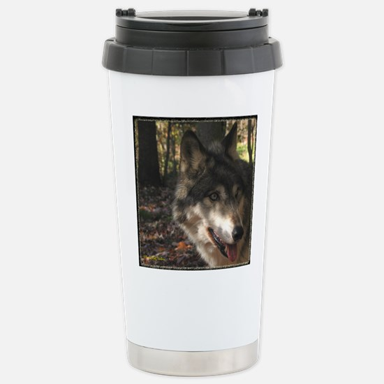 Wolf Portrait Side View Stainless Steel Travel Mug