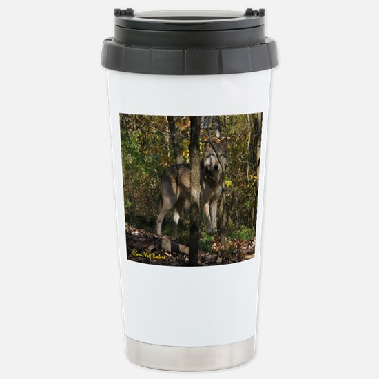 Wolf in Trees Stainless Steel Travel Mug