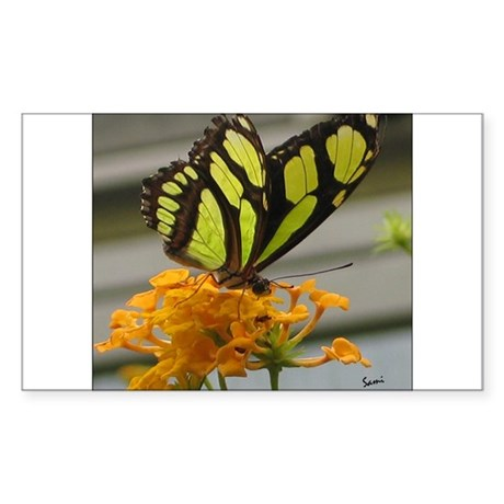 Yellow Butterfly Rectangle Sticker