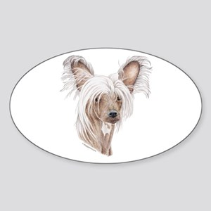 Chinese crested dog Oval Sticker