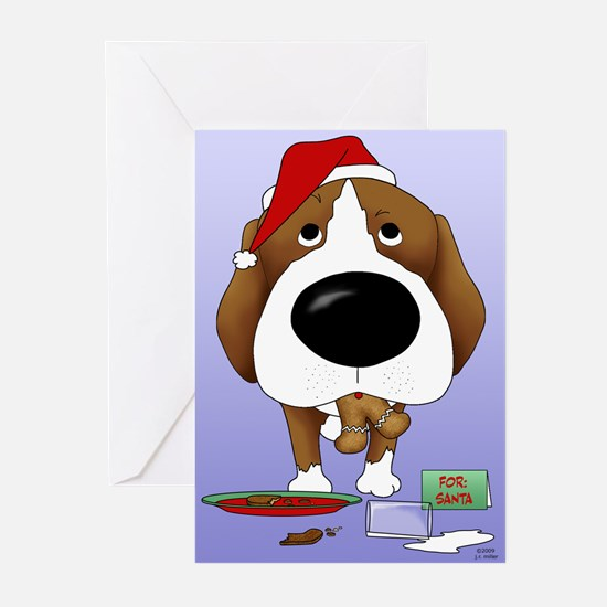 Beagle Santa's Cookies Greeting Cards (Pk of 20)