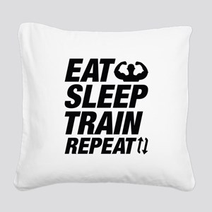 Eat Sleep Train Repeat Square Canvas Pillow