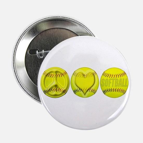 "Peace, Love, Softball 2.25"" Button"