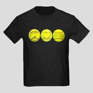 Peace, Love, Softball Kids Dark T-Shirt