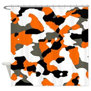 Camo Orange Shower Curtains