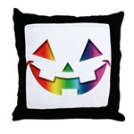 Smiley Halloween Rainbow Throw Pillow