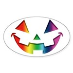 Smiley Halloween Rainbow Oval Sticker