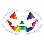 Smiley Halloween Rainbow Oval Sticker (10 pk)